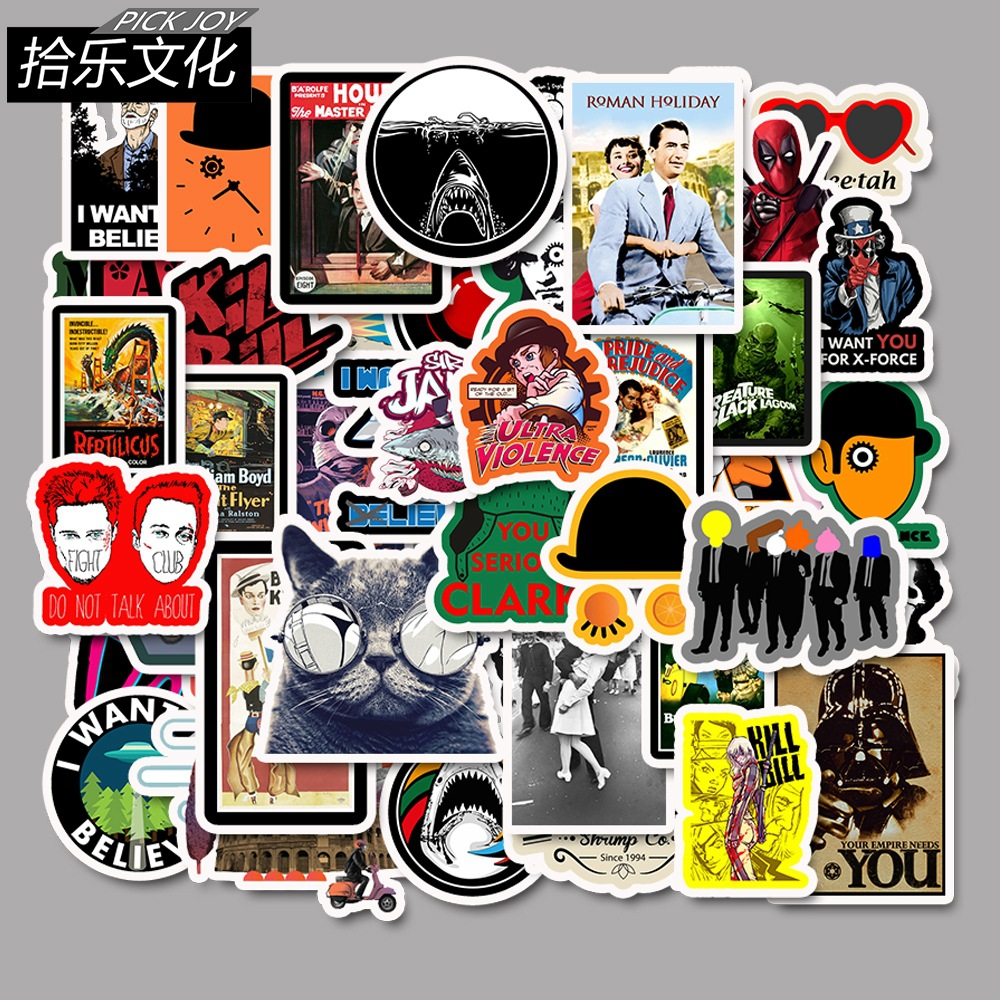 50 Pcs Classic Movie Stickers For Luggage Laptop Art Painting Kill Bill Pulp Fiction Poster Stickers Waterproof Skateboard Toy