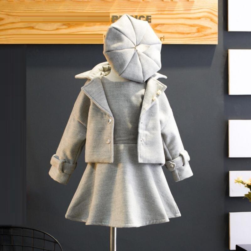 2018 Winter Spring Fall Baby Toddler Girls Clothing Sets Wool Coat+sleeveless Dress+cap 3pcs Suit Child Kids Clothes Set Jw2938