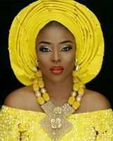 Latest African Wedding Nigerian Beads Jewelry Sets Yellow Bride Crystal Statement Necklace Set Women Gift Free