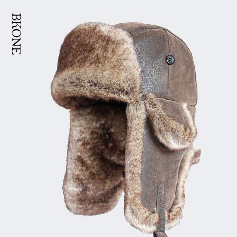 Bomber Hats Faux Rabbit Fur Russian Ushanka Vintage Pu