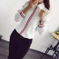 Fashion OL Striped Long Sleeve Lapel Shirt Casual Button Down Tops Women Blouse