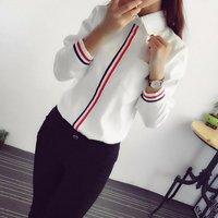 Fashion OL Striped Long Sleeve Lapel Shirt Casual Button Down Tops Women Blouse