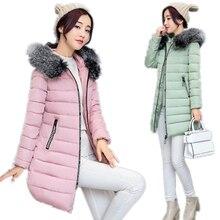 New 2017 Fur Collar Padded Jacket Women Winter Coat Hooded Long Down Cotton Coat Slim Waist Thicken Outerwear Jacket  CM328