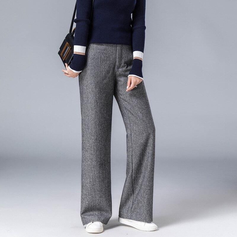 2018 New Pattern Women's High Waist Woolen Wide Leg Pants For Autumn Winter Casual Zipper Loose Soft Trousers grey