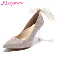 Lasyarrow Bling Wedding Shoes Women Sexy Pointed Toe Stiletto Thin Heel Elegant Women Shallow Pumps Plus Size 33 48 Black RM223