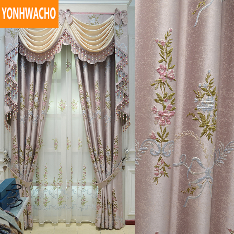 Custom curtains High-precision embossed pastoral high-grade wedding room pink cloth blackout curtain tulle valance drape N997