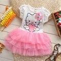 2016 New Custom Summer Hello Kitty Princesa de La Muchacha Muchacha de Los Niños Kids Vestido de Paño Partido Mini Vestido Vestidos Niños Vestidos de Bebé