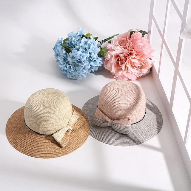Summer Girl Sunshade Hat Sweet New Mixed Colors Cute Bow Straw Hat Outdoor  Pink Elegant Beach Sun Hat Women Gift cb805a8989a8