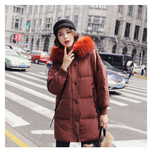 Graceful brand-name female winter down jacket long Raccoon Fur large fur collar thickening hooded Womens clothing