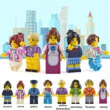8 Pcs/set  Building Blocks Figures brick DIY toys Compatible Figures girl Doctor Police Nurse stewardess 8 occupations for gift