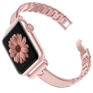 Image 2 - Voor Apple Horloge Band 40Mm 44Mm Serie 5 Slim Vervanging Armband Sieraden Vrouwen Voor Iwatch Serie 4 3 2 1 38Mm 42Mm