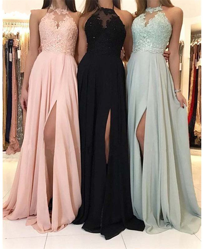 New Sexy Bridesmaid Dresses Lace A-Line Wedding Party Dresses Simple Long Split Vestido Longo Rosa Prom Gown Custom Any Size