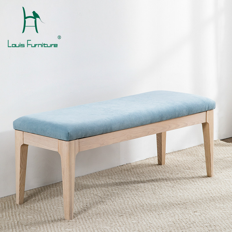 louis fashion stools ottomans art nordic bedroom sofa modern simple bed side solid wood