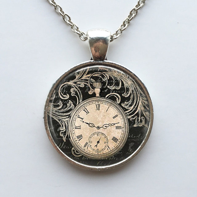 Online shop free shipping vintage clock necklace round clock pocket free shipping vintage clock necklace round clock pocket watch pendant art photo pendant glass dome clock pendant jewellery aloadofball Images
