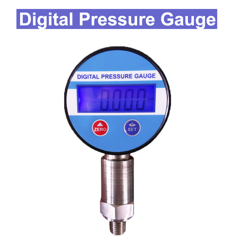 цена на SP 0-60Mpa Pressure Gauges Digital Display Oil Pressure Hydraulic Gauge Pressure Test Meter 3V For Gas Water Oil 1/4G thread