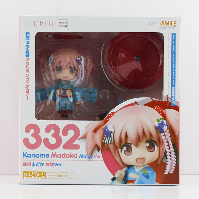 10cm Nendoroid #332 Puella Magi Madoka Magica PVC Action Figure Model Collection Toy Doll With Box Retail