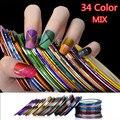 34 Colores de Rolls Nail Art Design Metallic Striping Etiqueta Engomada DIY Decoración de Uñas Pegatinas Nail Art Tips de Belleza