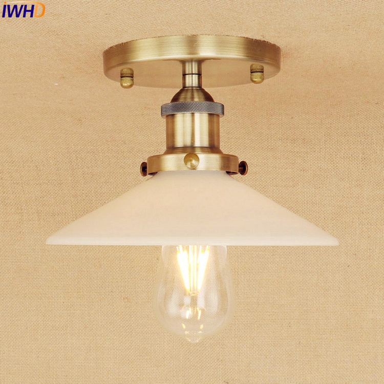 IWHD Brass Color LED Ceiling Lamp Vintage Glass Living Room Lights Loft Industrial Vintage Ceiling Light Edison Style Lighting brass cone shade pendant light edison bulb led vintage copper shade lighting fixture brass pendant lamp d240mm diameter ceiling