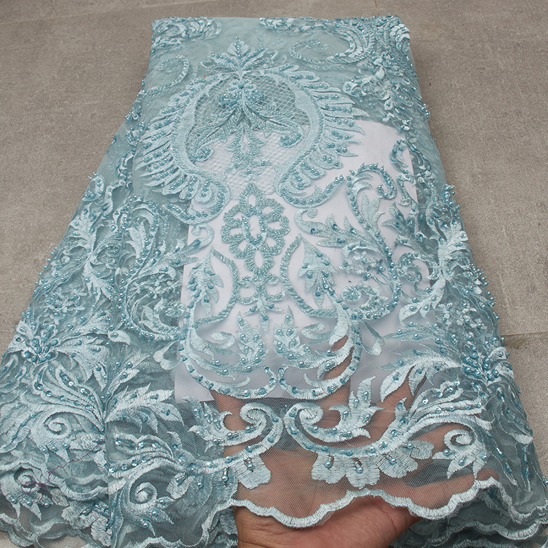 Blue Lace Fabrics For Dresses High Quality Luxury Lace Fabric Tulle Wedding Lace MR2590B