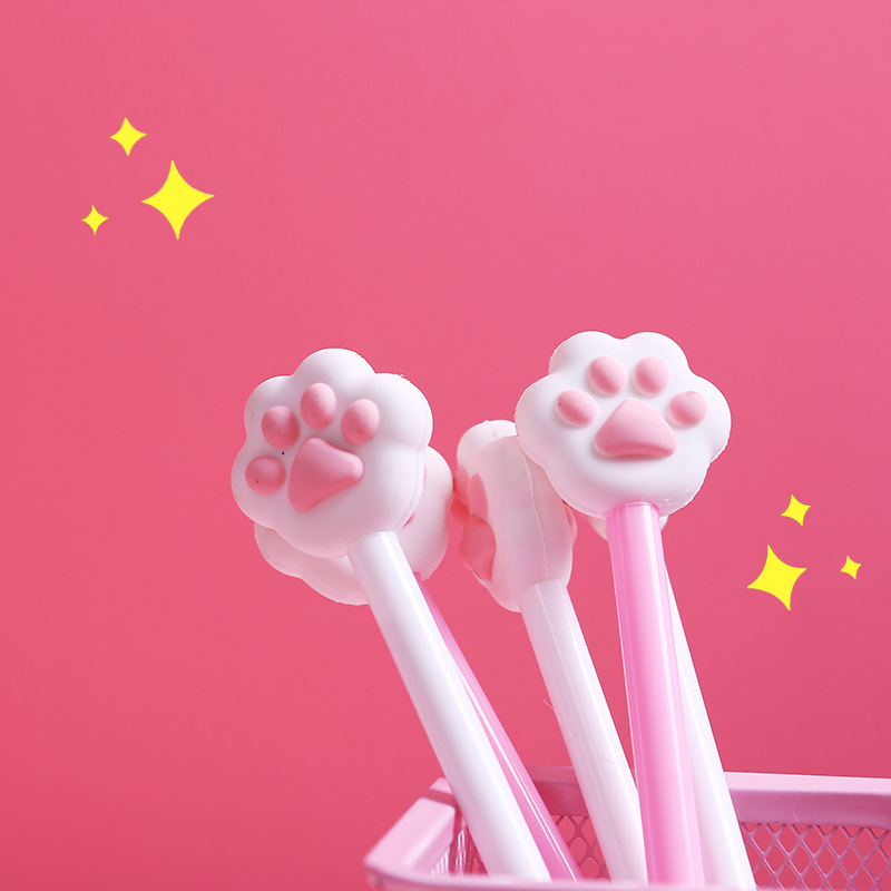 1 pcs Kawaii cat footprint gel pens for writing Cute black ink signature pen office school supplies canetas lapices 2pcs cute panda shape gel pen 0 5mm black ink pen canetas criativa kawaii stationery office school supplies