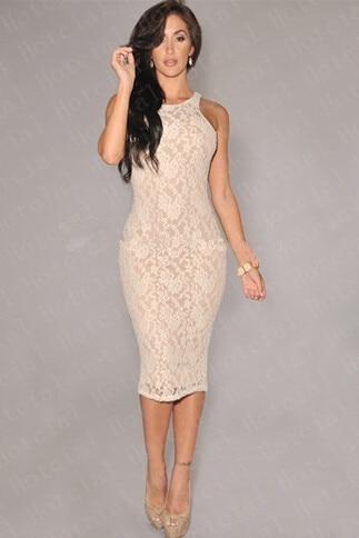 d10c90efd677 2014 New Fashion Women's Empire Vintage Crochet Lace Party Bodycon Pencil  Dress White Black Nude Illusion Sleeveless Midi Dress