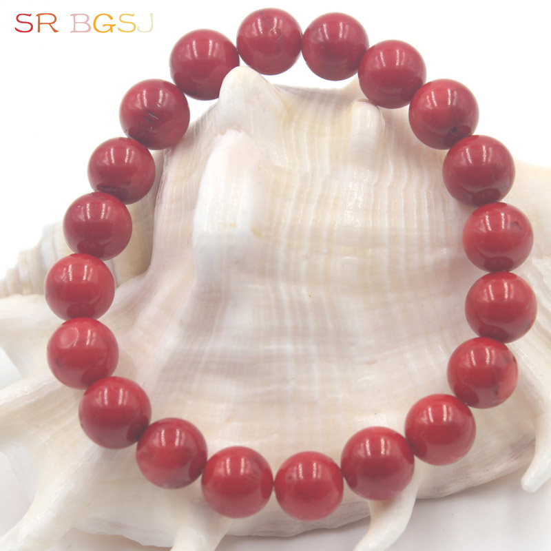 "Free Shipping 6 8 10 12mm Mother's Day Gitft Round Natural Red Coral Gems Stone Handmade Stretchy Jewelry Bracelet 7"" 7.5"" 8"""