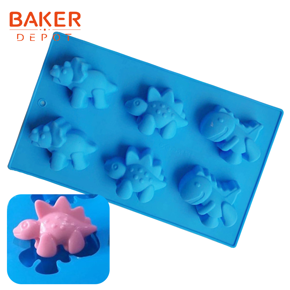 <font><b>BAKER</b></font> <font><b>DEPOT</b></font> biscuit chocolate silicone mold dinosaur design candy jello pudding soap mould cake bakeware pastry tools ice molds image
