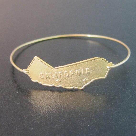 Personalized gold color CALIFORNIA Bangles bracelet letter pulsera women bracelets Jewelry Free Shipping YPQ0089