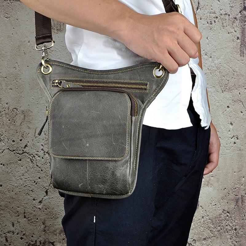100% ægte læder mænd talje fanny taske rytter ben lår taske drop - Bæltetasker - Foto 2