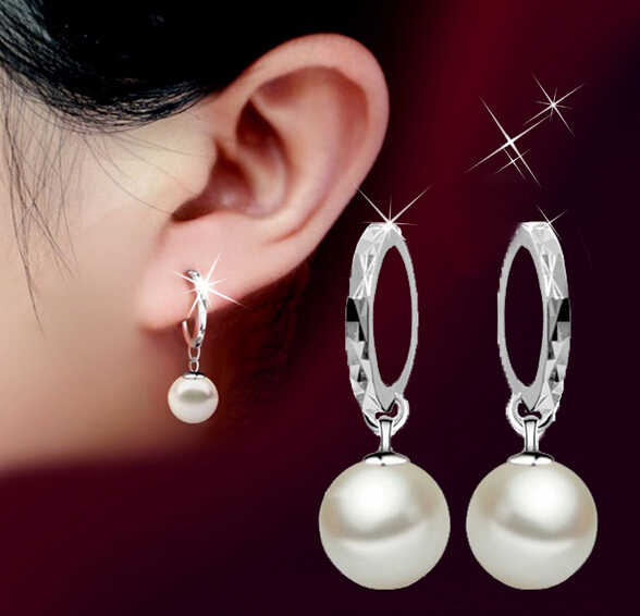 Simulated Pearl Fashion Wedding  Hoop Earring Vintage Brand New Korea Jewelry For Women Elegant Party Gift  Earrings