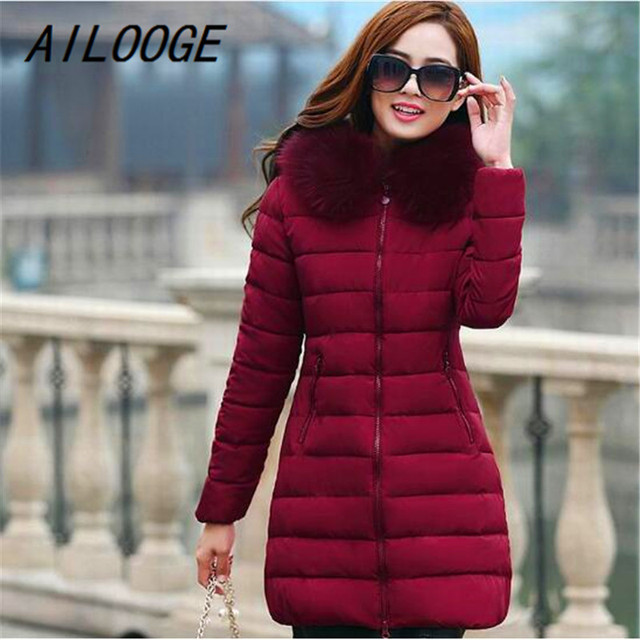 AILOOGE New Plus Size 4XL Winter Jacket Women's 2017 Fur Collar Thick Warm Cotton Parka For Women Winter Jacket Coat Female