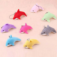 Brand New 5Pcs Colorful Cartoon Dolphin Doll Phone Key Chain Bag Pendant Plush Toys Wedding Birthday Party Gift Toy Random Color(China)