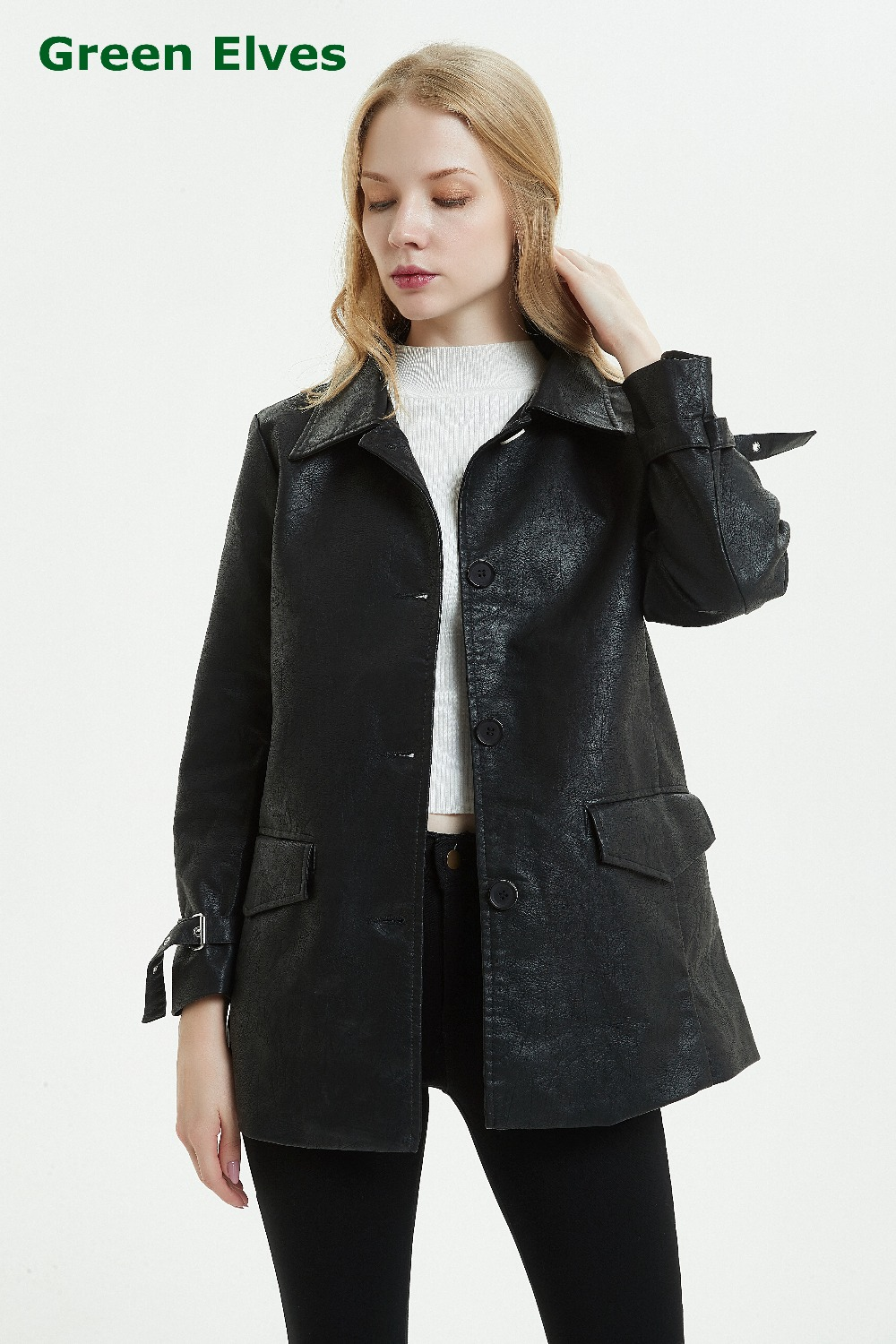 Autumn Winter Mid-Long Faux Leather Coat Trench Ladies Single Breasted Black Slim PU Leather Jacket Women Overcoat With Belt