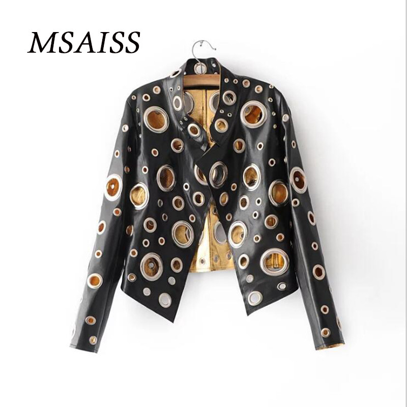 MSAISS Autumn New Ladies Hollow Metal Color Motorcycle Leather Jacket Punk-style Ladies PU Leather Coat S M L