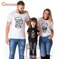 Babyinstar Beer Coffee Milk Pattern Family Matching Look Summer Dad Mum Baby Cotton T Shirt Family