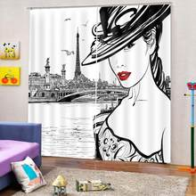 curtains home decor customize living room bedroom window curtains Simple beauty avatar photo print curtains(China)