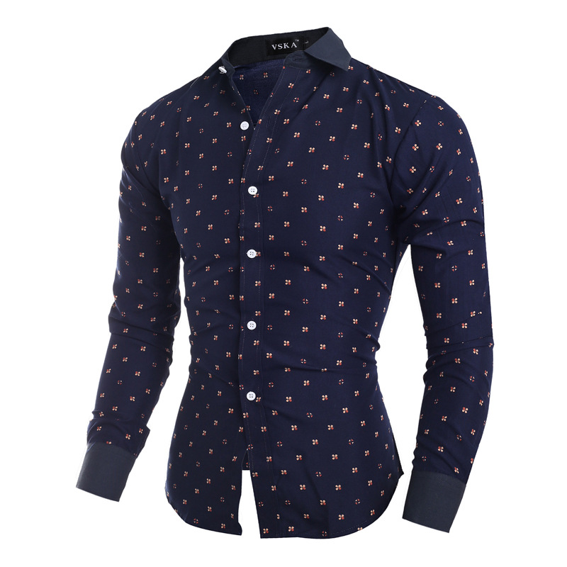 Vska Men Business Premium Polka Dots Oversize Dress Shirts Top
