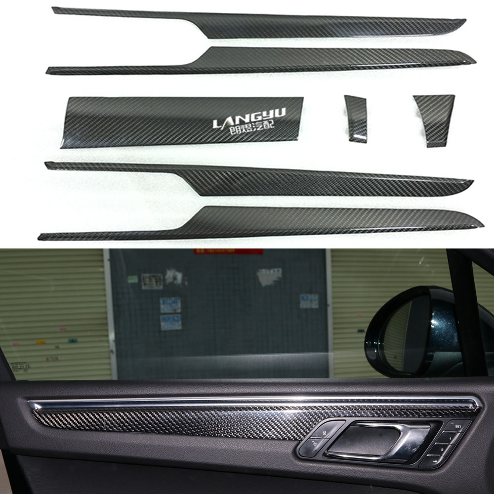 For Porsche Macan 2014 2015 2016 real Carbon Fiber Interior Decorative Trim Cover 7pcs/set LHD Only
