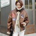 Corea Gamuza de Piel de Cordero Europa Insignia Motocicleta Femenina Engrosamiento piloto Amerian Flying Tigers guapo y Chaqueta retro