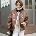 Korea Suede Lamb Fur Europe Badge Motorcycle Female Thickening pilot Amerian Flying Tigers handsome and retro Jacket