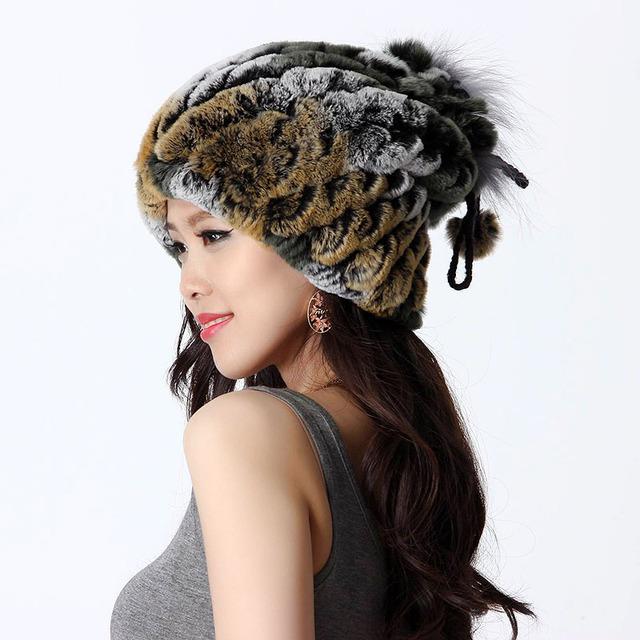 Hechos a mano invierno mujer genuino de punto Natural Rabbit Fur Hats señora Neckwarmer gorros gorras VF0435