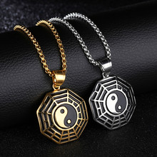 2017new personality high quality open yin and yang five elements gossip character tai chi compass pendant titanium steel men's