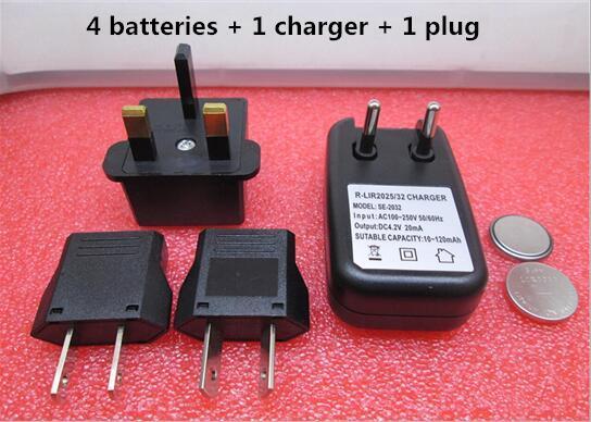 NEW  battery LIR2032 3.6V Rechargeable lithium battery charger Button Li-ion battery 4battery+1charger
