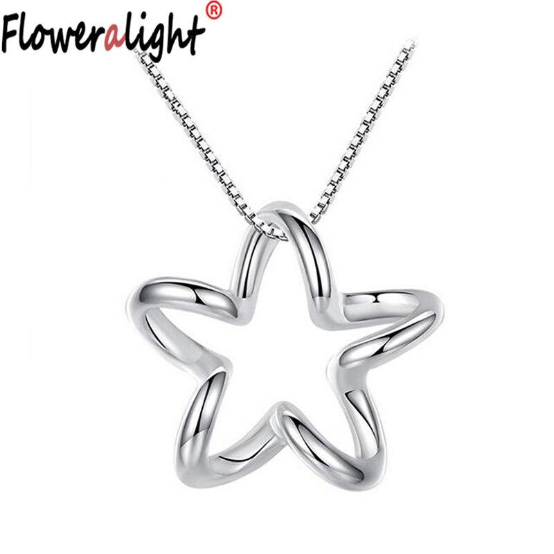 4ed064697b7d Floweralight lindo 1.4 cm estrella Colgantes y Collares para la joyería  fina de la manera de las mujeres collar pendiente de la muchacha al por  mayor ...