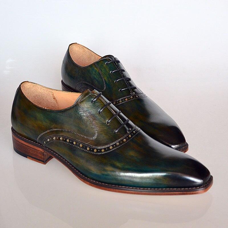 calidad Hecho artesanal zapatos zapatos hombres moda fiesta a de zapatos vestir vestido de Goodyear Italiano mano personalizados de cuero Oxford de hombre wZwr0pq