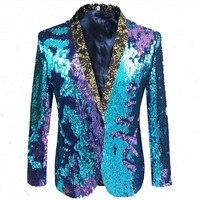 Mermeid Sequins Men Jackets Blazers Formal Prom Male Singer Host Stage Costume Wedding Groom Master Performance Outerwear DJ DS
