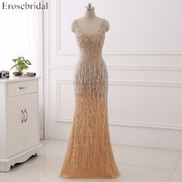 Sexy V-Neck Heavy Beaded Prom Dresses With Crystal Sequined Mermaid Evening Dresses 2017 Long Sleeveless Party Gowns ZC142