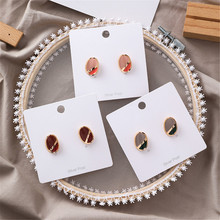 Korean Geometric Oval Vintage INS Simple Acrylic 2019 Summer Woman Girl Stud Earrings Fashion Jewelry Holiday-MSE