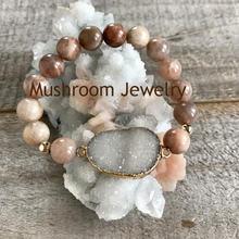 Boho chic druzy браслет ювелирные изделия sunstone Бусы натуральный