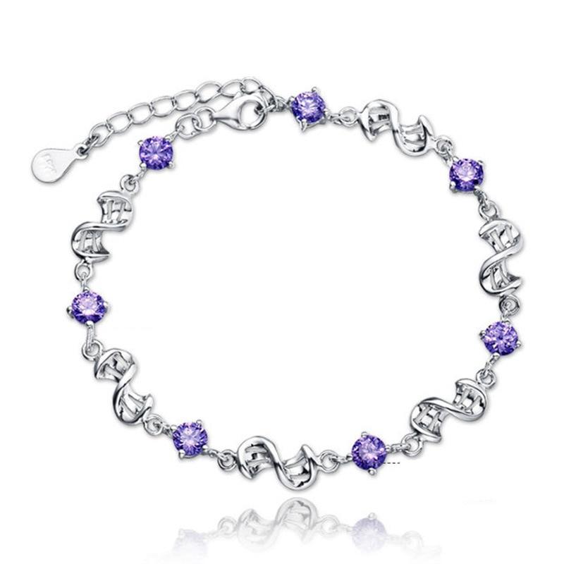 100% 925 sterling silver fashion shiny crystal ladies`bracelets jewelry women charm bracelet wholesale drop shipping gift